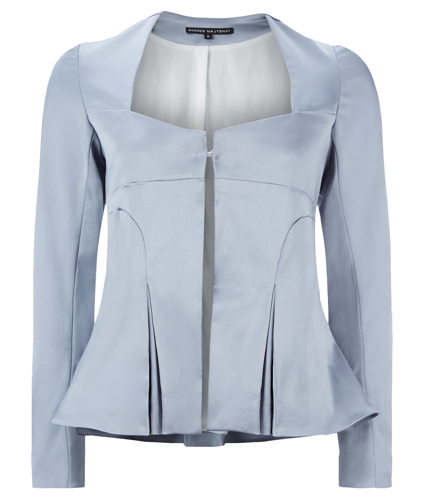 Corset Jacket godet dropped neckline grey gray stretch satin front image photo picture