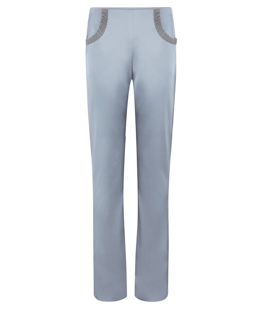 Ruched Pocket Trouser pant pants slacks taupe ruche grey gray shiny stretch front image photo picture