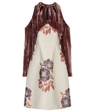 Tie Sleeve Dress velveteen red grey gray jacquard floral cord toggle front image photo picture