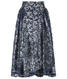Dark Sahara Skirt long gathered swing navy blue sparkle lace back image photo picture