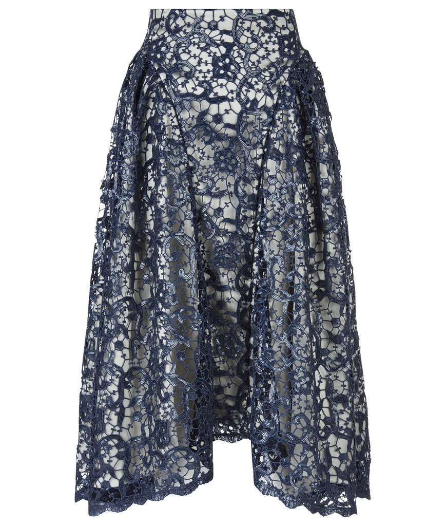 Dark Sahara Skirt long gathered swing navy blue sparkle lace front image photo picture