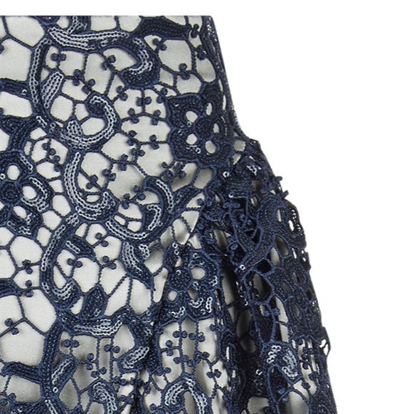Dark Sahara Skirt long gathered swing navy blue sparkle lace front close-up image photo picture