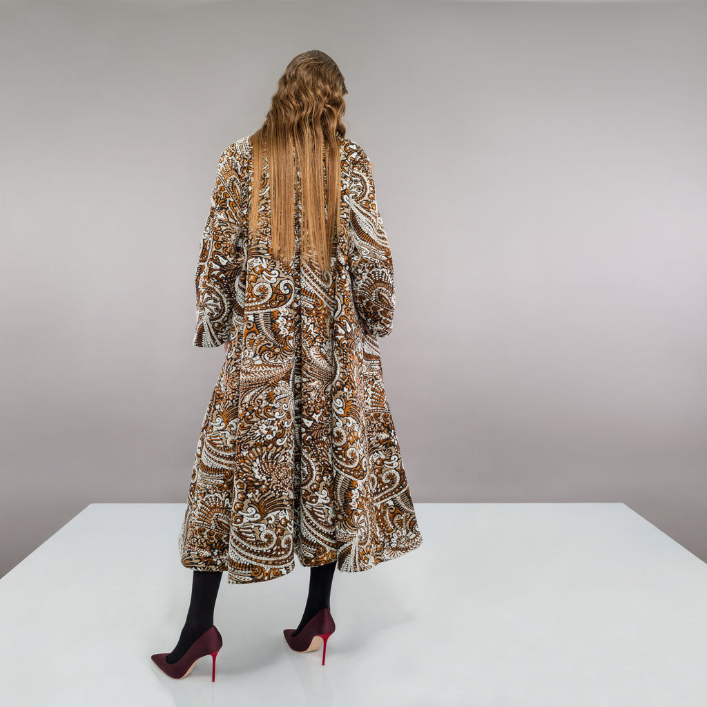 Duster Coat outerwear rust beige copper paisley texture buttons swing cut model image photo picture