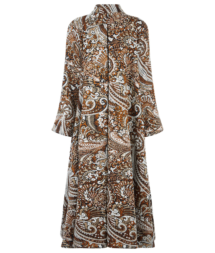Tri Point Dress evening gown sheer long sleeve black contrast weave white flower back image photo pictureDuster Coat outerwear rust beige copper paisley texture buttons swing cut back image photo picture