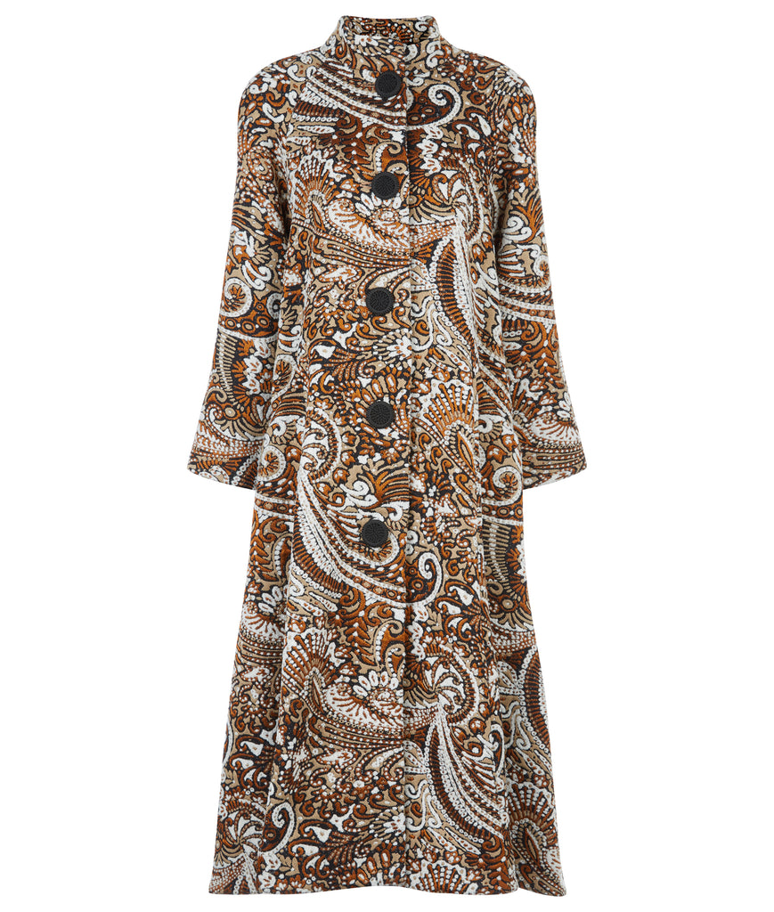 Duster Coat outerwear rust beige copper paisley texture buttons swing cut front image photo picture