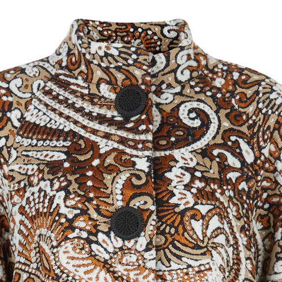 Duster Coat outerwear rust beige copper paisley texture buttons swing cut front close-up image photo picture