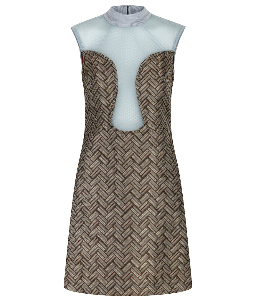 Deep Dip Dress. Sleeveless shift dress in rectangular diagonal tiled weave design in taupish brown. CF dips below bustline, almost to waistline, compiled with sea green sheer mesh. Rib knit collar 4.5cm height. Dress length from CB neckpoint 91.5cm. 50g approximate weight. 80% Nylon, 20% Viscose Contrast: 100% Nylon. Dry Clean Only. Made in England