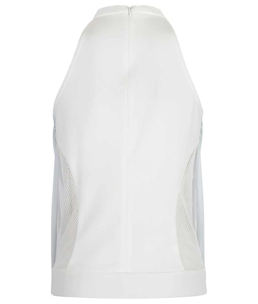 Sheer Gathered Top. Sleevless top in thick white scuba with lower side panel mesh trim. Covered silky sheer mesh gathered over top, attaching to collar. CB invisible zipper. Length from CB neckpoint 54cm. 100g approximate weight.