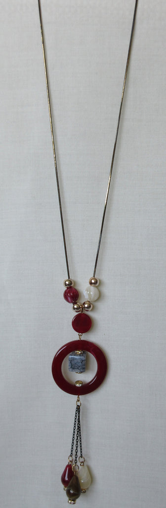 Red Ring Necklace red circle, blue stone multiple beads beige red gold image photo picture