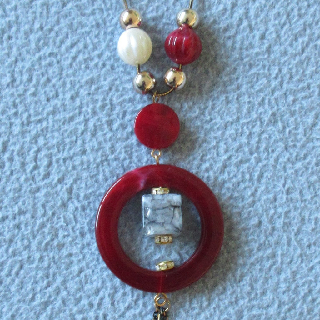 Red Ring Necklace red circle, blue stone multiple beads beige red gold zoom image photo picture