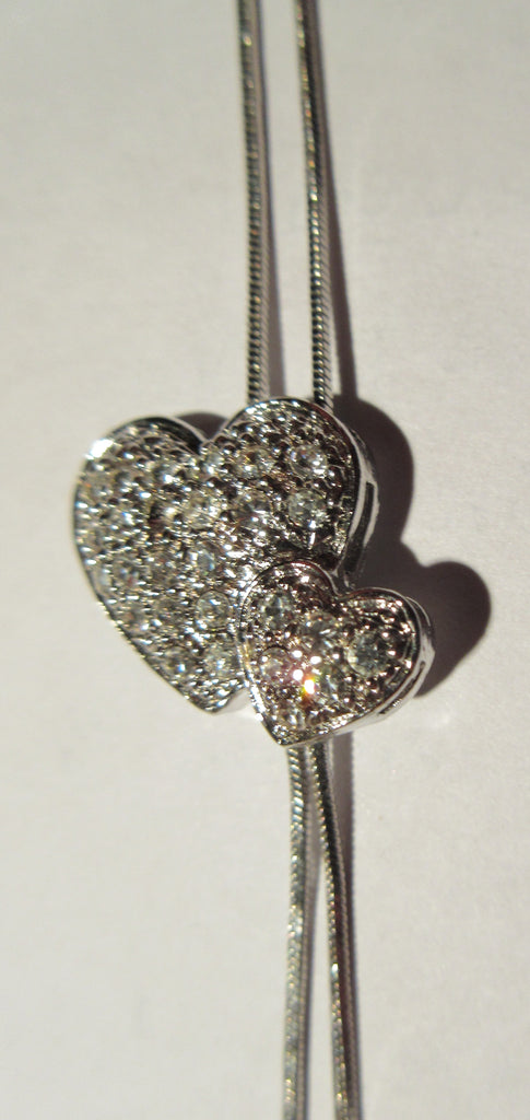 Double Heart Necklace satin chain adjustable close-up image photo picture