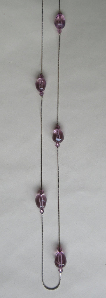 Long pink balled ball fine chain necklace image photo picture