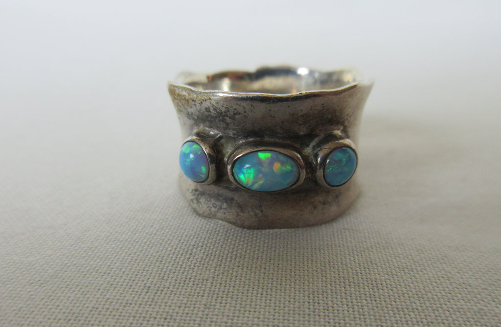 Three stone ring irregular cut turquoise colour image photo picture