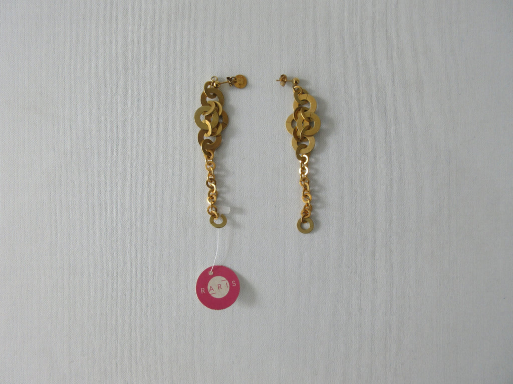 Rari's Gold Colour Rings, Earrings Multi-sized gold colour rings, metal unknown, Length 7.5cm each