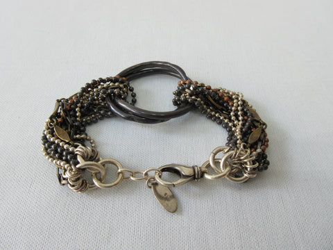 20A65C -Dark Brown Scrunched Ribbon with Metal Rings Choker