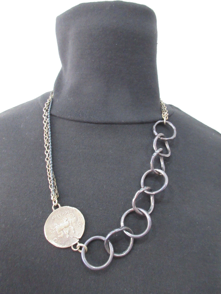 Karyn Chopik 8 Ring & Coin Necklace with multi-chain combination, Item Number: N1166, Open length 52cm, 29cm lenth when worn, 38 grams approximate weight. Made in Canada