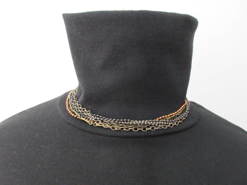 Karyn Chopik Multi Chain Choker, Sterling Silver, Antiquated Brass, Copper.  7 sets of chains.  Open length 39cm, 80 grams approximate weight. Made in Canada