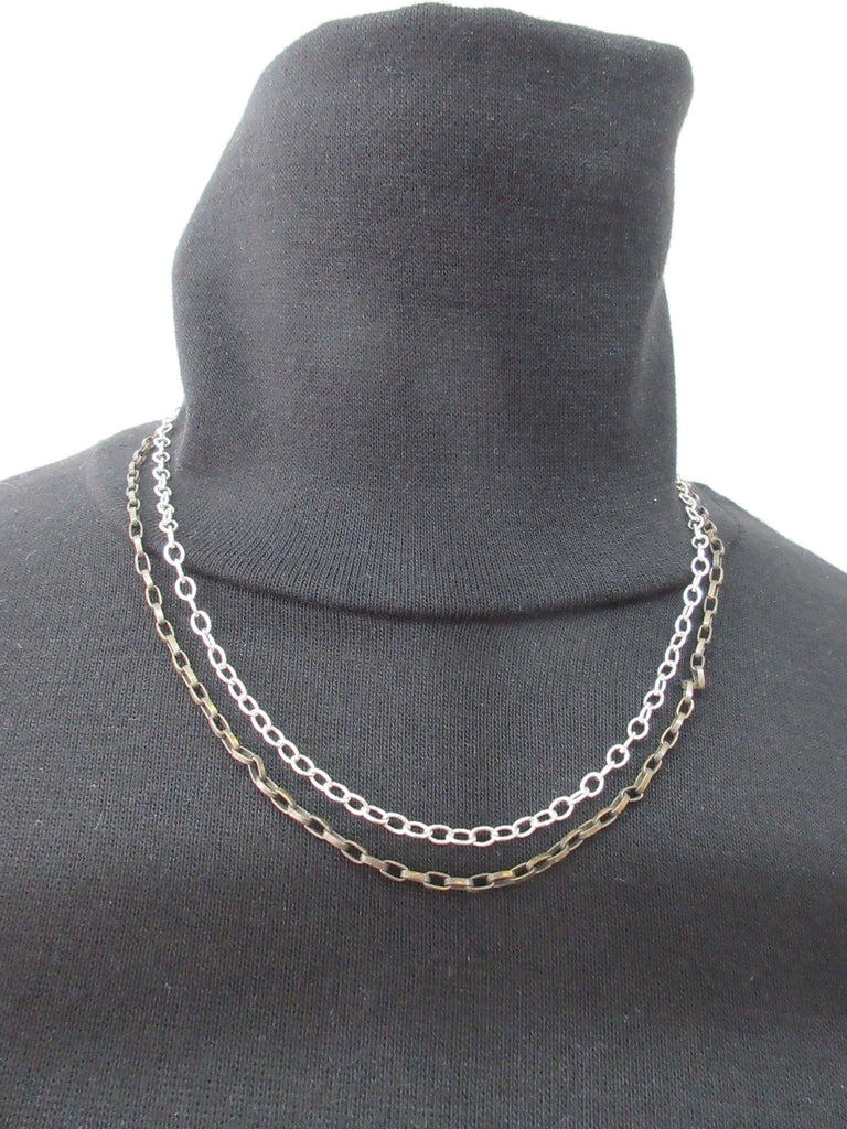 Karyn Chopik Tight 2 Chain Necklace, Item Number: N1135X, Sterling Silver, Antiquated Brass. Full length 46cm. 15 grams approximate weight, Made in Canada