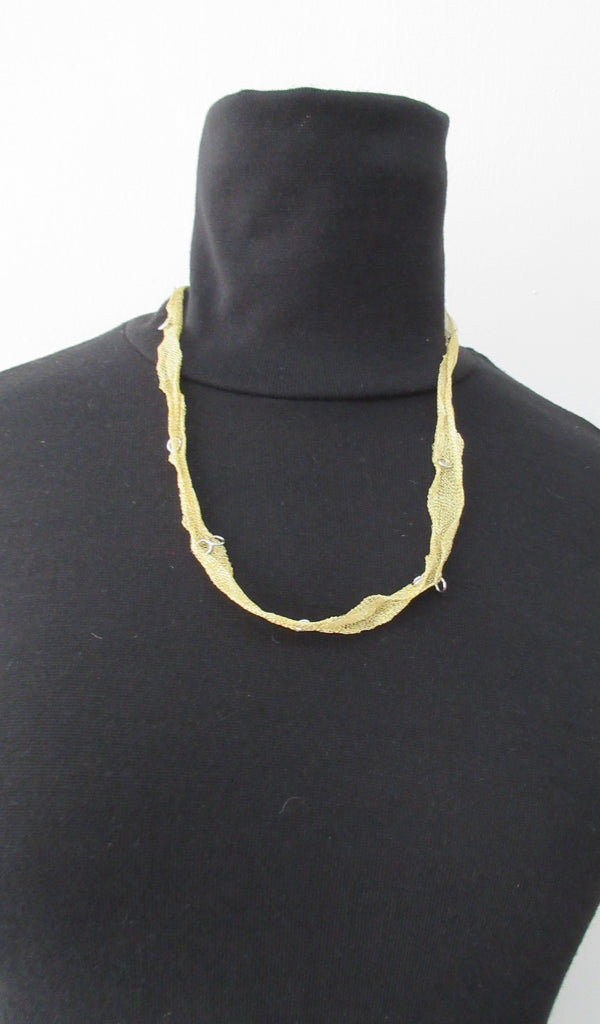 Gold Colour Scrunched Ribbon with Metal Rings Necklace. 60cm full length, 30cm when worn. 6 grams approximate weight