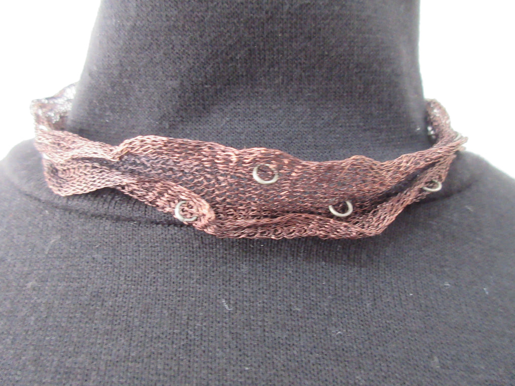 Dark Brown Scrunched Ribbon with Metal Rings Choker, Dark Brown shorter Choker style. 41cm full length, 20.5cm when worn. 6 grams approximate weight