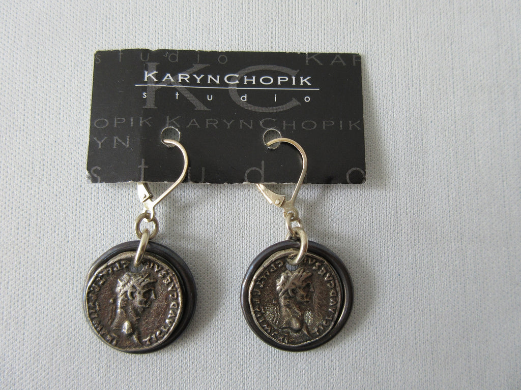 Karyn Chopik Roman Coin in Ring Earring. Item Number E1158. Sterlng Silver & Copper. 25g approximate weight, Made in Canada