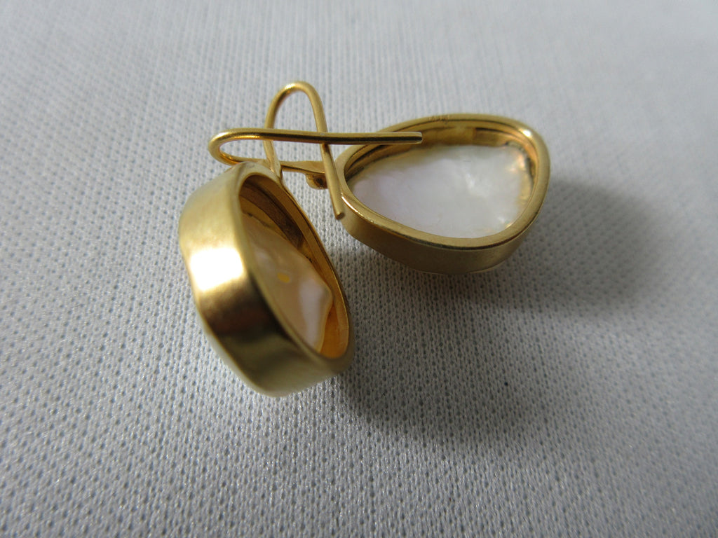 JPFW Pearl Shell Earring in Brass Base. Larger size approx 1.5cm x 1.7cm. 10 grams approximate weight