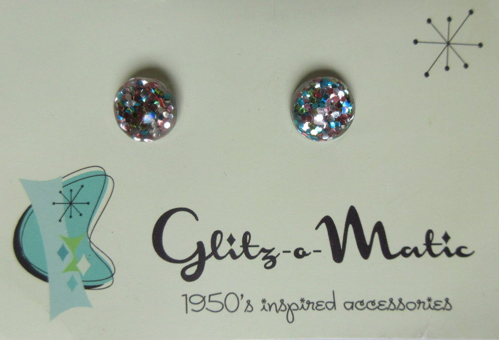 Glitz-o-matic Earrings. Vintage style earrings in multicolour glitz under arylic. In original packaging.