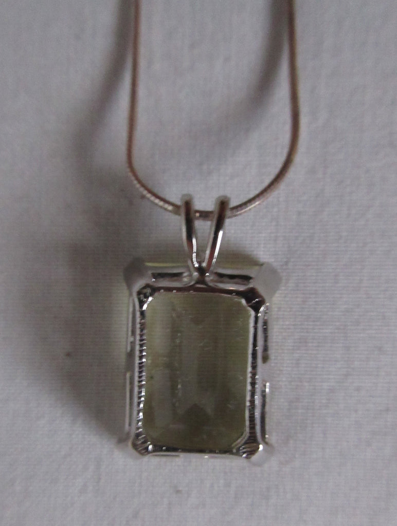 Metallic silver colour choker necklace with large square crystal in metal encasing, Metal unknown, probably stainless steel.  Full length 20cm when worn. Square crystal approx 1.5cm x 2cm, 50g approximate weight, Country of manufacture unknown