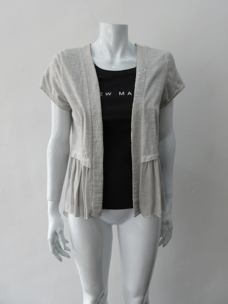 Comfortable fine knit open style cardigan with clear sequin front panel. Soft pleating below waist completly around  Art. 14003. CB Length 68cm, 200g approximate weight, 100% Cotton, Machine Wash, Hang Dry only, Made in Italy
