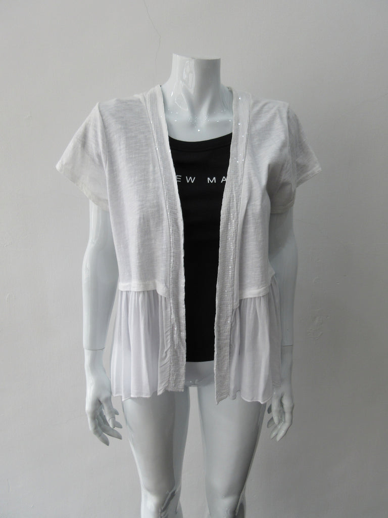 Comfortable fine knit open style cardigan with clear sequin front panel. Soft pleating below waist completly around, CB Length 68cm. 200g approximate weight, Art. 14003, 100% Cotton, Machine Wash, Hang Dry only,  Made in Italy
