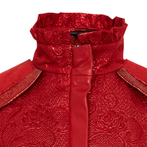 Rouge Jacket crop texture jacquard red close-up image photo picture