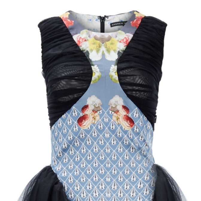 [Sample] Full length gown-style dress in floral & drop print. Plenty of tulling on sides and ruching around bust area. 750g approximate weight. 97% Rayon, 3% Lycra. Contrast: 97% Polyeater, 3% Elastine. Dry Clean Only. Made in England
