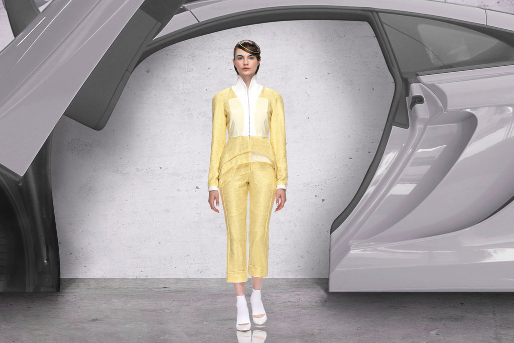 Yellow Mixed Jacket Catwalk Image beige white photo picture