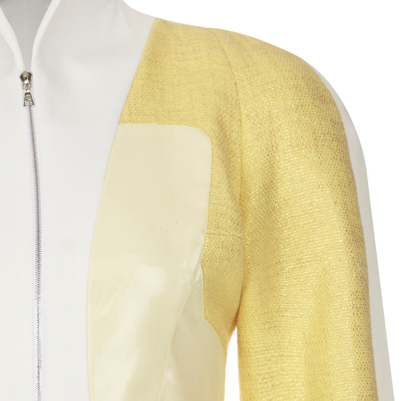 Yellow Mixed Jacket upper zoom beige white image photo picture