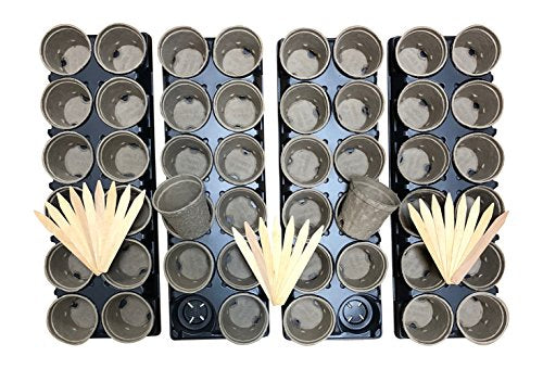 100% Organic Recycled Paper Seed Starter Pots + Trays -- Biodegradable, Sustainable & Peat-Free Pots -- 48 Pots, 24 Tags, 4 Reusable Trays