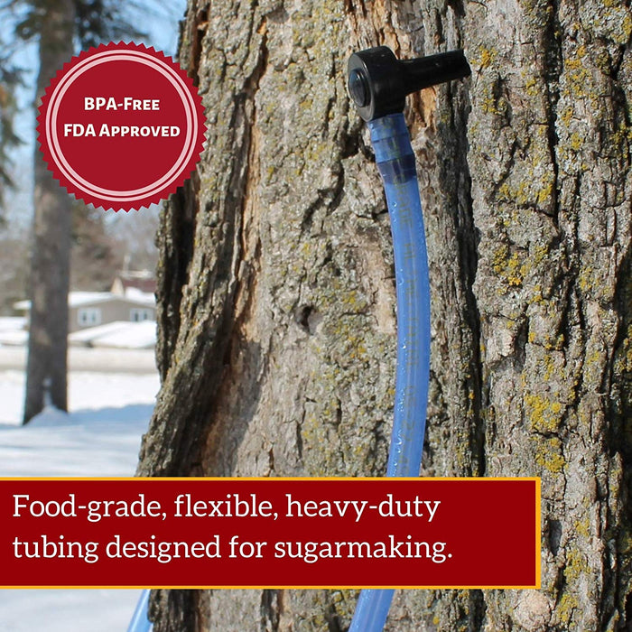 Maple Syrup Tree Tapping Kit – (10) Taps + (10) 3-Foot Drop Line Tubes + 1-Quart Sap Filter – Dark Blue Premium Food Grade Tubing - Recipe Cards, and 80 Page Illustrated Guide to Maple Tapping Book