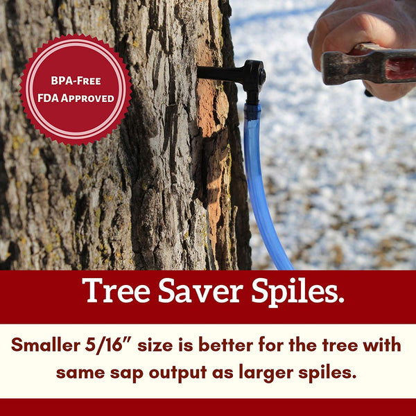 Maple Syrup Tree Tapping Kit – (12) Taps + (12) 2-Foot Drop Line Tubes + 1-Quart Maple Sap Filter – Dark Blue Premium Food Grade Tubing - Instructions, Recipe Cards