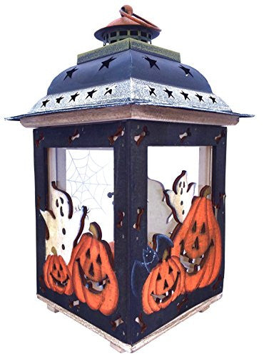 Halloween Candle Lantern with Pumpkins, Spooky Ghosts, Spider Webs – Rustic, Hand Painted Wood and Glass - Decorative Candle Holder, Standing or Hanging by Clovers Garden