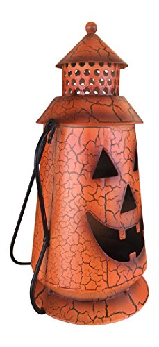 Halloween Pumpkin Rustic Small Lantern with Handle - Metal Jack O Lantern Fall Decoration, Standing or Hanging, Holds Pillar Candle - Indoor, Outdoor