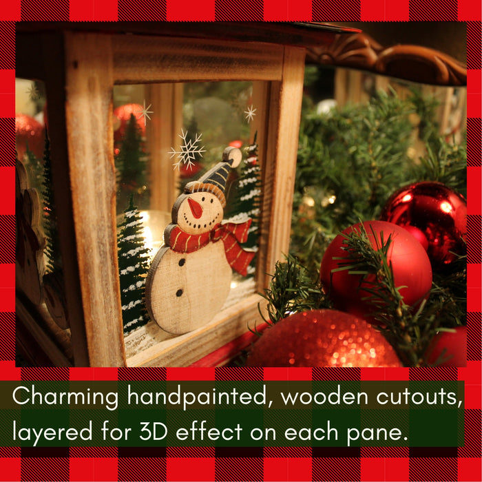 "Clovers Garden 13"" Christmas Wooden Snowman Lantern Decoration Vintage – Red Decorative Holiday Table Centerpiece or Hanging Lantern for Pillar Candle or LED Light Indoor Use"