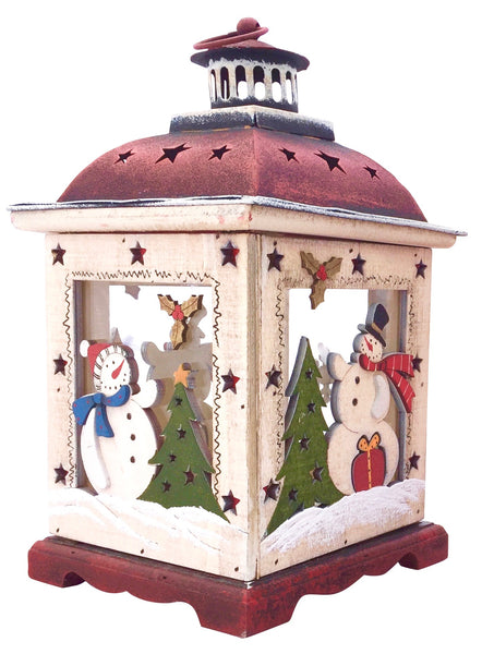 "Christmas Snowman Lantern Decoration - Decorative Holiday Table Centerpiece or Hanging Lantern Holder for Pillar Candle or LED Light Indoor Use (10.5"" Small, White)"