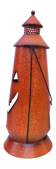 Halloween Pumpkin Rustic Large Lantern with Handle, - Metal Jack O Lantern Fall Decoration, Standing or Hanging, Holds Pillar Candle - Indoor, Outdoor
