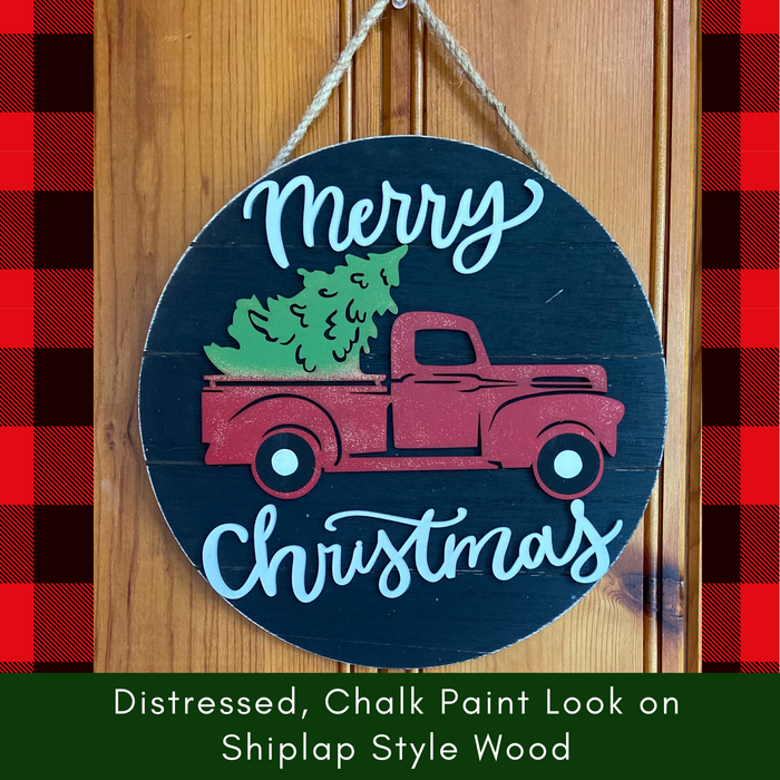Merry Christmas Wooden Sign Rustic Farmhouse Look with Vintage Truck