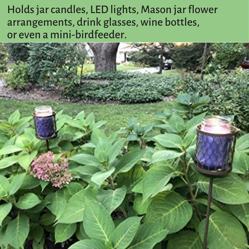 Decorative Outdoor Candle Holders Stakes (Set of 3) Fits Mason Jars & Soda Cans - Metal Adjustable Height