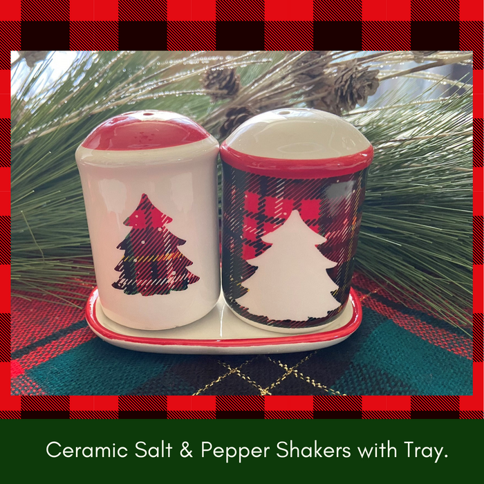 Christmas Tree Ceramic Salt and Pepper Shakers Set with Matching Tray (3 Pieces)