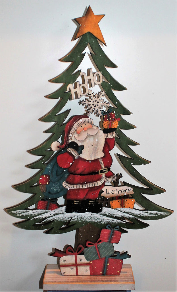 Wooden Tabletop Christmas Tree Mini Desktop Tree Decoration Hand-Painted Rustic Holiday Santa Décor Table Centerpiece 23""