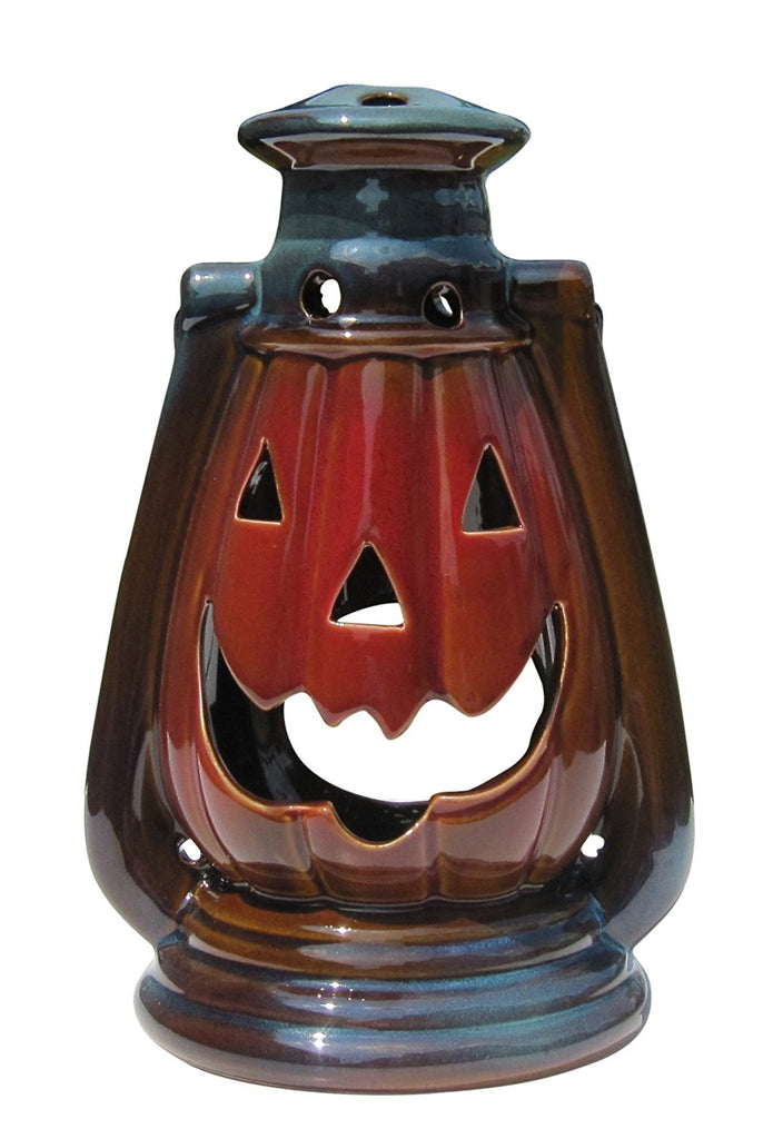 Halloween Pumpkin Lantern with Handle, Glazed Stoneware - Small Decorative Table or Hanging Lantern for Candle or LED Light – Indoor or Outdoor