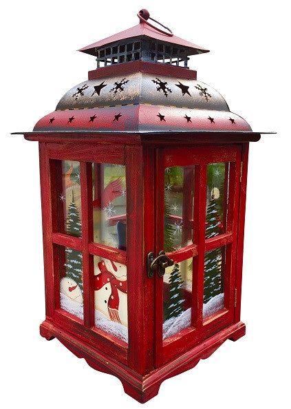 Christmas Snowman Lantern Decoration -  Decorative Holiday Table Centerpiece or Hanging Lantern Holder for Pillar Candle or LED Light Indoor Use