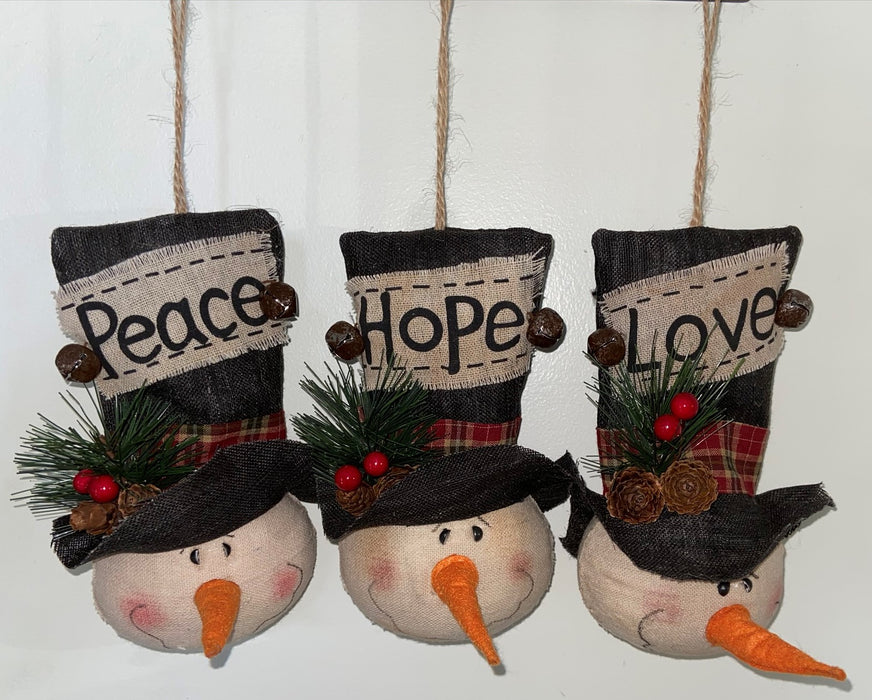 Large Snowman Ornaments (Set of 3) - Rustic Fabric with Hope, Love, Peace