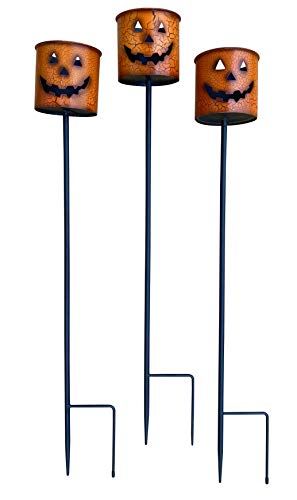 "Decorative Outdoor Halloween Pumpkin Candle Holder Stakes (Set of 3) Painted Metal 24"" Tall"
